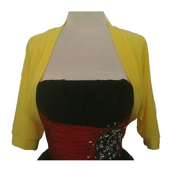 Mid Length Yellow Bolero Jacket Stretch Shrug Bridal Wedding Jacket