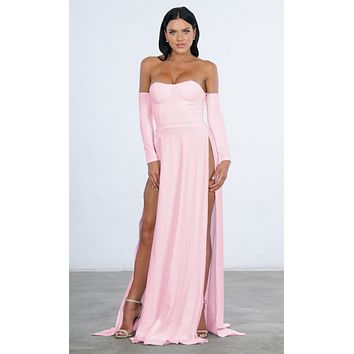 You're An Angel Double Slit Off the Shoulder Bustier Long Sleeve Maxi Gown Dress
