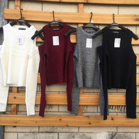 Knit Autumn Strapless Long Sleeve Tops [9408471116]