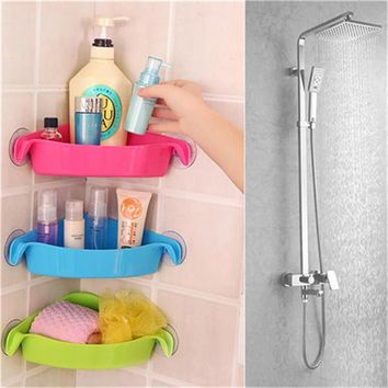 Fit Corner Bathroom Suction Cup Storage Shelf Rack Bath Shower Wall Mounted Basket Holder case Space Saver Organizer Shelves