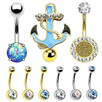 BodyJ4You 9PC Belly Button Rings 14G CZ Crystal Blue Nautical Stainless Steel Navel Piercing