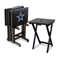 Dallas Cowboys NFL TV Tray Set with Rack