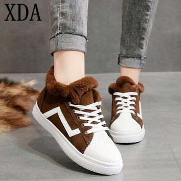 Winter Warm add Cotton board Shoes Female suede fashion women shoes Plus Velvet Lace-up Snow boots ankle Boots