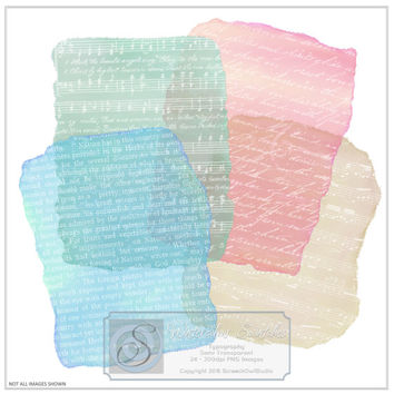 Typography Watercolour Swatches, Clipart, Overlays, Paper Craft, Craft Supplies, Journalling, Scrap Booking, Embellishments, Card Making