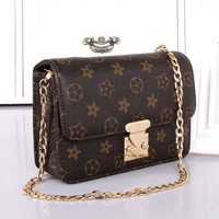 VONE056 LV Louis Vuitton Women Shopping Leather Metal Chain Crossbody Satchel Shoulder Bag