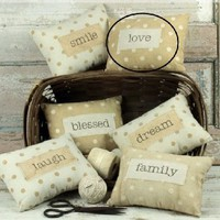 Rustic Chic Inspirational Word Pillows with Polka Dots - 9-in (love)