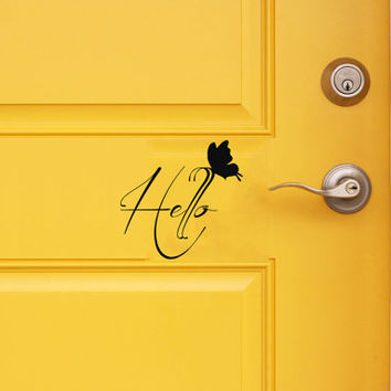 Butterfly Wall Decals Family Door Wording Hello Lettering for Door Vinyl Decal Sticker Art Mural Interior Design Front Door Decor KG776