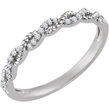 14K White Gold .08 CTW Diamond Stackable Ring