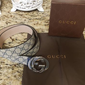 Gucci Belt Classic Blue & Tan Monogram Print with Silver GG Buckle. Size 95cm...