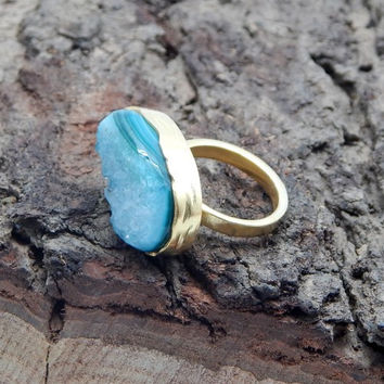 Natural Green Druzy Gold Plated Ring
