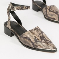 ASOS DESIGN Mamba pointed flat shoes in snake at asos.com