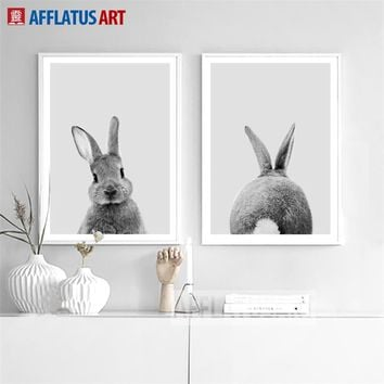 AFFLATUS Nordic Canvas Painting Cute Rabbit Nursery Wall Art Posters And Prints Wall Pictures Kids Room Baby Girls Room Decor