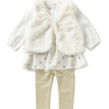 Starting Out Baby Girls 3-24 Months Long-Sleeve Dress, Faux-Fur Vest, & Leggings 3-Piece Set | Dillards