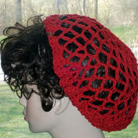Hand Crochet Snood Renaissance and Civil War Red