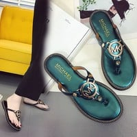 Design Stylish Shoes Summer Metal Anti-skid Casual Flat Sandals [415634685988]