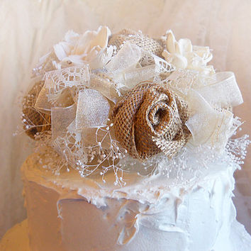 Burlap Rose & Sola Flower Cake Topper, done in natural tones of ivory organza, lace and brown burlap. Made to Order.