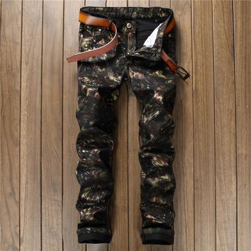 Casual Hot Sale Print Club Black Pants [10766089539]