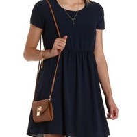 Navy Crepe Babydoll T-Shirt Dress by Charlotte Russe
