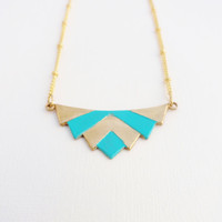 Little Chevrons Raw Brass and Teal Pendant on Gold by DirdyBirdy