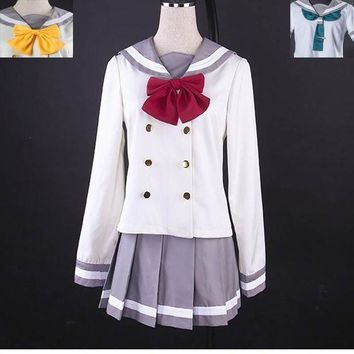 CREY6F Anime Love Live! Sunshine!! Aqours Cute Sailor Suit Cosplay Costum Autumn School Uniform Gilr Dress 3 ties