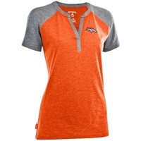 Antigua Denver Broncos Ladies Shine Split Neck Premium T-Shirt - Orange