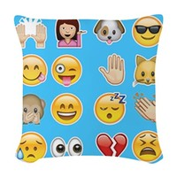blue emoji Woven Throw Pillow