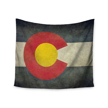 """Bruce Stanfield """"State Flag of Colorado"""" Black Red Wall Tapestry"""