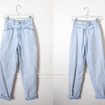 Ultra High Waisted 80s Jeans / Vintage Mom Jeans Preppy 80s Jeans Relaxed Fit Faded Denim Jeans Bleached Denim Boyfriend Jeans Yoke Front