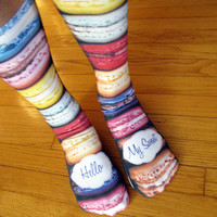 Full Print Custom Socks Personalized Hello My Sweet Macaroons  - Adult Unisex Size fits Most