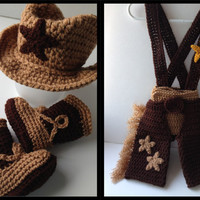 Cowboy Baby Set - Photo Props - Boots - Hat - Diaper Cover with Suspenders - Chaps - Crochet - Handmade - Made to Order