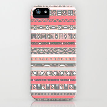 Aztec Print Peach Rose Salmon Grey iPhone & iPod Case by RexLambo