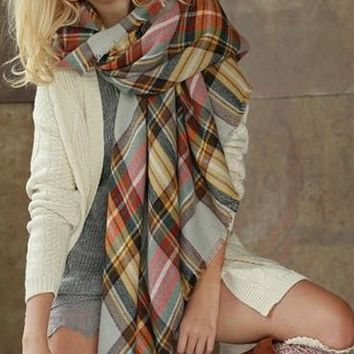 Lucky Duck Pretty in Plaid Blanket Scarf in Cloud