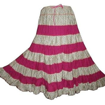 Tiered Long Funky Beach summer Gypsy Cotton skirt