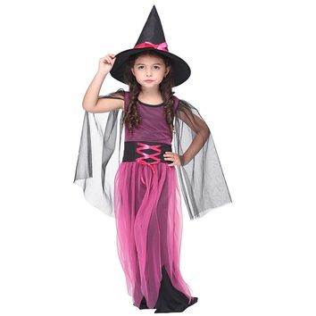 Children Girls Halloween Costume Witch Cosplay Costume Masquerade Clothing Sets Kids Girl Carnival Party Dresses ( Dress+Cap)