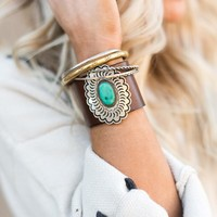 Turquoise Concho Leather Bracelet