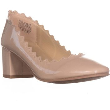 Wanted Mia Block Heel Scalloped Pumps, Taupe, 8.5 US