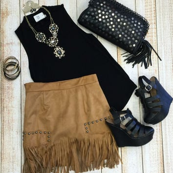 Fringe Frenzy Skirt: Camel