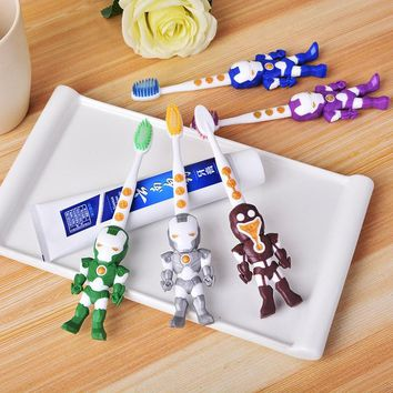 2PC Children Toothbrush Cartoon Ironman Rabbit Bear Toothbrush Oral Hygiene Electric Massage Teeth Care Kids Toothbrush Cleanser