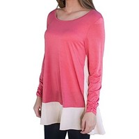 Women's Long Sleeve Loose Casual Spring Round Neck Candy Color T-shirt Blouse Sweater