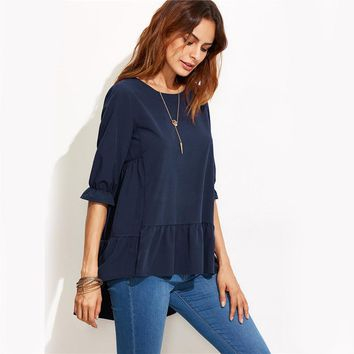 Fashion Clothing for Womens Latest Top Designs Navy Ruffle Sleeve High Low Tiered Peasant Top Blouse
