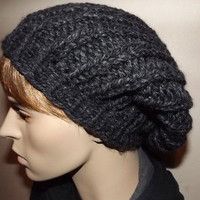Hand Knit Hat- Unisex Long Rib Slouch Beanie Beret- Charcoal Soot Coal Dark Gray
