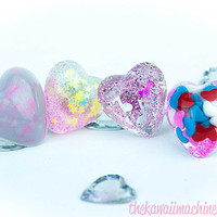Kawaii Fairy Kei Sweet Lolita Adjustable Resin Chubby Heart Rings 4 Styles Milky Glitter Confetti Real Sprinkles