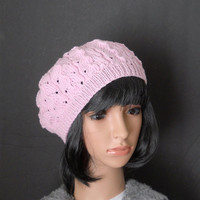 Blush Pink Beret, Handknit Hat in Pastel Pink, Feminine Lace Beret, Knit Tam with Lace Design, Pink Beanie, Fall Pastel Hat
