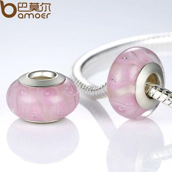 Autumn Collection Silver Color Pink Murano Glass Beads Fit Bracelet & Necklace Tiny Bubbles Jewelry Making PA6318