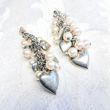 Vintage Silver and Pearl Cluster Heart Earrings, Silver tone and Faux Pearl Dangle Earrings, Costume Jewelry Chunky Drop
