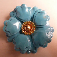 Vintage painted enamel brooch pin. Ruffled teal blue metal flower brooch gold center perfect for Spring, Easter or Summer costume jewelry