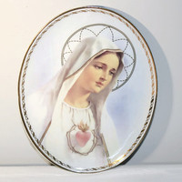 Decorative Plate Mary Sacred Heart, Religious Wall Plaque, Vintage Decor