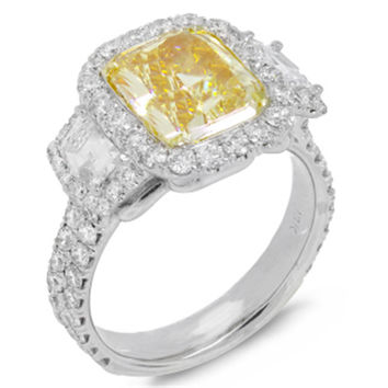 4.95ct 18k Two-tone Gold EGL Certified Radiant Cut Natural Fancy Yellow Diamond Ring