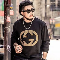 GUCCI black simple double G letter printing round neck long-sleeved sweater