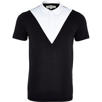 River Island MensBlack and white chevron polo shirt